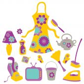 Housewife Accessories Icon Set
