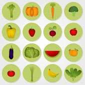 Colored Icons Of Vegetables And Fruits