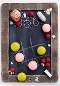 Macaroons On Chalkboard
