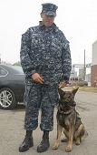 Unidentified navy with K-9 dog providing security during Fleet Week 2014