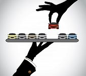 Hand Silhouette Choosing The Best Red Car From Car Dealer Agent  - Concept Illustration Of Customer