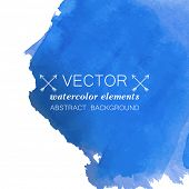 Blue watercolor grunge vector banner for your design.