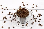 Coffee beans in the cup