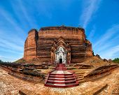 Panorama View Of Ancient Pa Hto Taw Gyi Pagoda Ruins At Mingun City Near Mandalay. Myanmar (Burma)