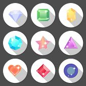 pic of octagon shape  - Gem stone flat color icons with long shadow stock vector - JPG