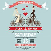 Cartoon Bride Groom On Retro Bike.wedding Invitation