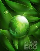 vector environmental background with transparent green ball-globe and leaves