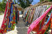 stock photo of loincloth  - Souvenir shop on the beach of Ifaty southwestern Madagascar - JPG