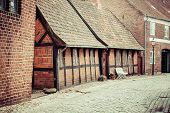 Street With Old Houses From Royal Town Ribe In Denmark