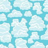 Seamless abstract pattern with sky and clouds.