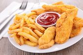 picture of fried chicken  - french fries and fries chicken - JPG