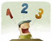 pic of numbers counting  - Illustration of a funny kid counting three numbers - JPG