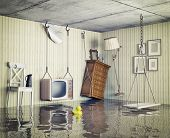 ordinary life in the flooded flat. 3d concept