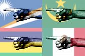 Set Of Pointing Finger In National Flags