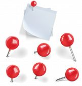 Set Of Red Pushpins And Blanks White Paper With Pushpins On White Background. Vector Illustration