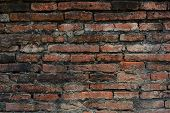 pic of brownstone  - Texture of old red brick wall of ancient city in Thailand