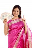 Smiling Young Woman Holding Indian Rupee Notes