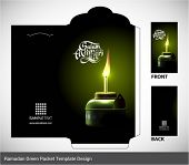 stock photo of hari raya aidilfitri  - Vector 3D Muslim Pelita Oil Lamp Ramadan Money Green Packet Design - JPG