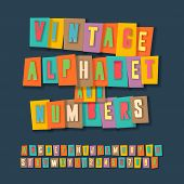 Vintage alphabet and numbers, collage paper craft design