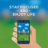 Adventure travel concept, smartphone make picture of mountain