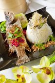 Australian Barramundi, Served With Fragrant Jasmine Rice And Wil