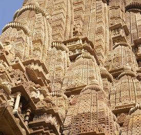 stock photo of kandariya mahadeva temple  - Detail shikhara temple spires of Kandariya Mahadeva Temple at Khajuraho in India Asia - JPG