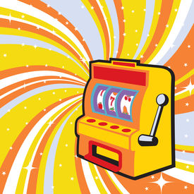 stock photo of slot-machine  - illustration of gambling machine on the beautifull shiny background - JPG