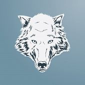 pic of silkscreening  - Wolf Head illustration - JPG