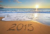 stock photo of horizon  - 2015 year on the sea shore - JPG