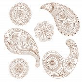 Henna Paisley Mehndi Vector Design Element.