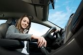 Young Attractive Woman Driving