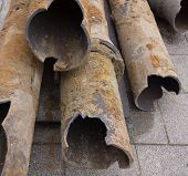 Rusty pipes dug for replacement