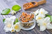 foto of jasmine  - jasmin tea in bowl - JPG