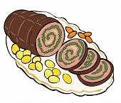 Meat roulade with carrots and potatoes.