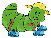 Caterpillar con zapatos y sombrero de paja.