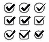 foto of confirmation  - vector black illustration of confirm icon on white - JPG