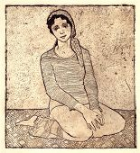 The Girl Sitting On A Carpet