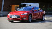 Tesla Model S Fully Electric Car In Motion