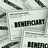 stock photo of check  - Beneficiary word on checks as payouts of insurance policies or inheritance from a will or trust from a family member who has died - JPG