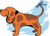 Vector Illustration Funny Dog And Dragonfly.eps