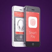 Black And White Smartphones With Smart Pay Application On The Screen