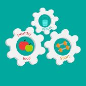 Gear Cogwheel Set With Water, Apple, Dumbell. Healthy Lifestyle Concept Flat Design