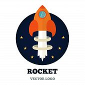 Rcket logo for new business, start-up. Vector
