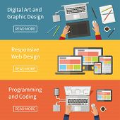 Graphic and Web design, programming, digital art, coding. Freelance occupation. Flat design vector c
