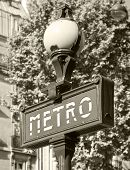 Street Sign At The Entrance To Paris Metro, Banner With Text