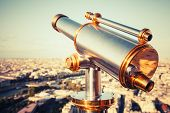 Metal Telescope On Eiffel Tower, Paris. Retro Stylized Photo
