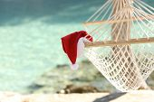 Hammock On A Tropical Beach Resort In Christmas Holidays