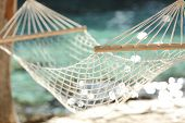 Hammock On A Tropical Beach Resort Vacation Concept