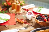 Composition of festive food on table