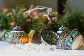Kettle and bowls, Tajik dishes, Christmas decorations